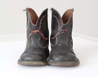vintage children's cowboy boots, kid's 40's western boots