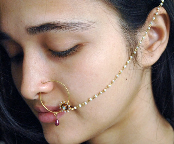 Indian Nose Ring Diamond Nath Nose Hoop Indian Bridal Nose