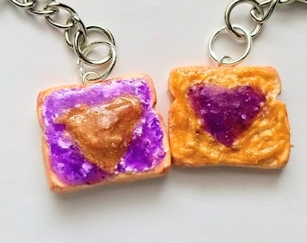 Peanut Butter and Jelly Best Friends Keychain, Miniature Food Jewelry, Inedible Jewelry, Junk Food Jewelry, Gifts for Foodies, Bff Keychain