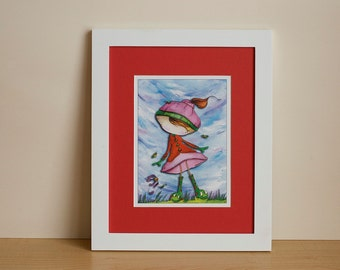 "Wall art, Illustration, kids Illustration, fun Illustration, digital print, ""The smiling boots"""