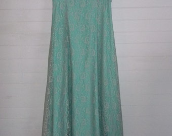 Amazing Emma Domb Seafoam Blue Green Formal Dress Vintage 60s Gown Floor Length Lace and Sequin Overlay B38
