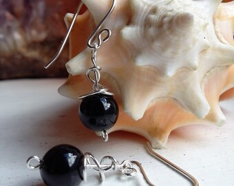 Sterling Silver Black Onyx Wire Wrapped Drop Dangle Earrings