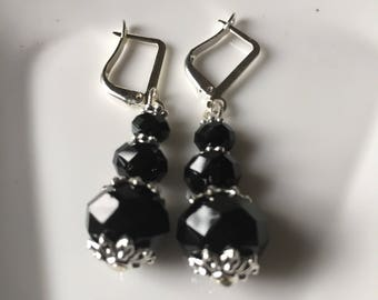 black crystal earrings that shout out fun and elegant at the same time