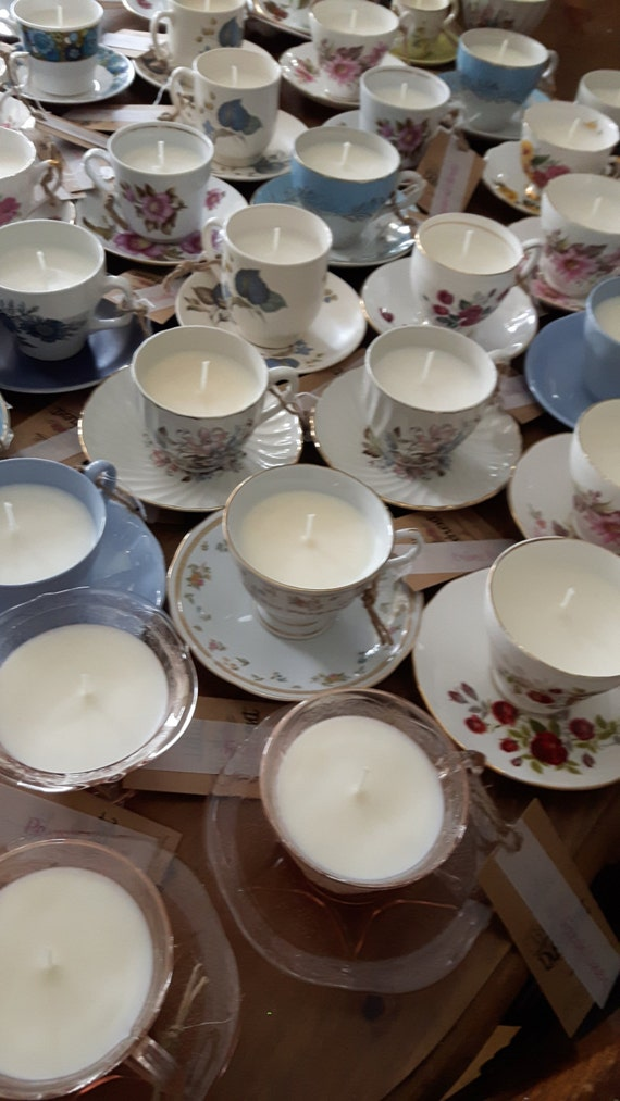 Wedding favours.  Tea cup candles. 20 Hand poured scented soy wax vegan vintage tea cup candles.  Ideal wedding favours Scent of your choice