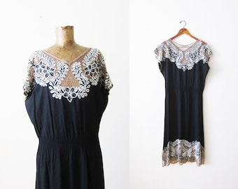 Black Bali Cut Dress - 80s Dress - Bali Cutwork Dress - Floral Lace Sundress - Rayon Dress - 80s Clothing - Boho Dress - Bohemian Dress L