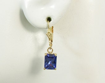 14K Gold Dangle Blue Spinel Rectangle Drop Gemstone European Spring Clasp Earring Wires Blue Stone Lever Back Earrings 14KBLSP8X6RECTLLB