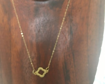 Gold clover charm necklace