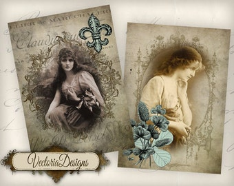 Gypsy ATC vintage images digital background instant download printable collage sheet VD0634