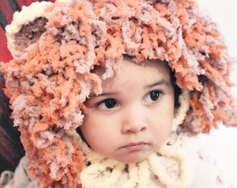 5T to Teen Lion Hat, Lion Mane Bonnet, Kids Crochet Hat, Lion Costume, Animal Hat, Lion Childrens Hat, Lion   Kids