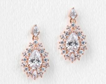 Rose Gold Jewelry Drop Earrings Wedding Jewelry Bridal Earrings Rose Gold Earrings Dangle Earrings Bridal Accessories Vintage Earring E344RG