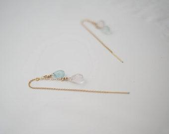 Aquamarine Threader Earrings, Aquamarine Long Earrings, March Birthstone Earrings, Gift for Her, Dainty Long Earrings, Dainty Threader