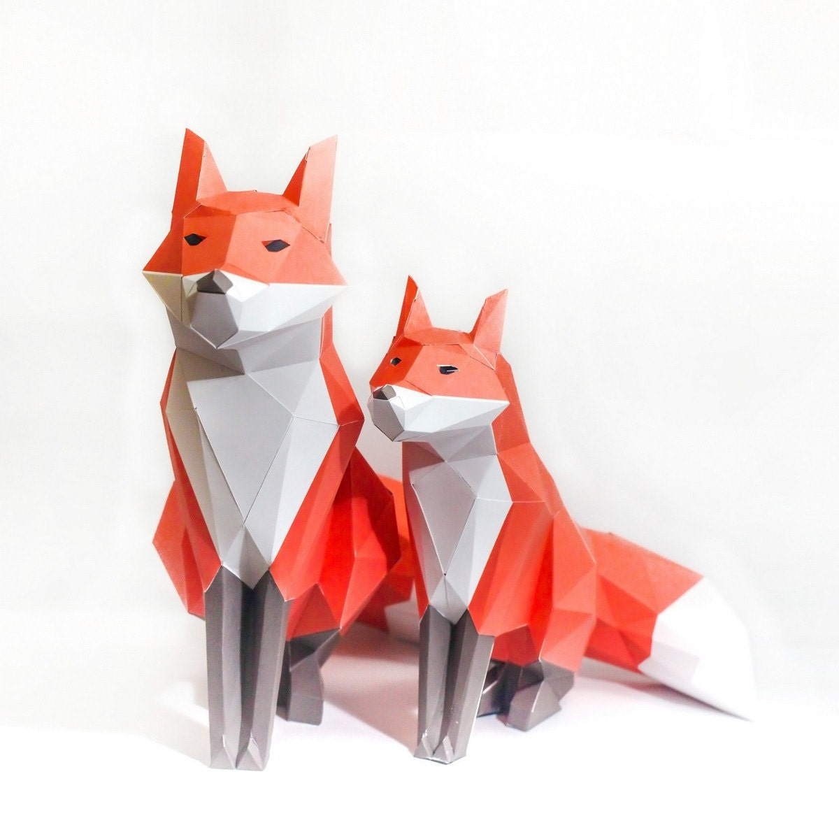 Red fox printable digital template diy papertoy model for Template of a fox