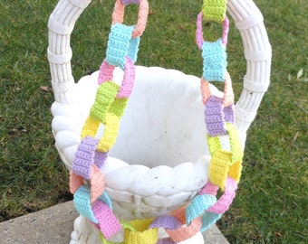 pastel Springtime crochet garland, nursery decor wall hanging, colorful bunting, home decor, baby room banner, baby shower decoration