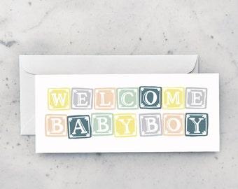 Boy Blocks Greeting Card