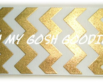 "WHITE GOLD FOIL Chevron Grosgrain Ribbon  1.5"", 2 1/4"", 3"" - 5 Yards - Oh My Gosh Goodies Ribbon"