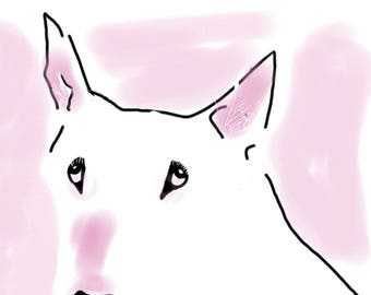 Pretty in Pink Charming English Bull Terrier Card