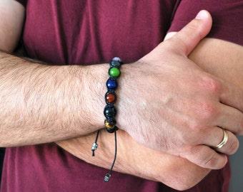 Mens bracelet , 7 Chakras Bracelet , Boyfriend gift , Onyx bracelet , Healing bracelet , Yoga bracelet , Beaded bracelet , For men