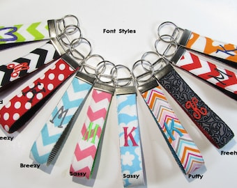 Wristlet Monogram Key Chain, ONE LETTER, Teacher Wristlet Keychain, Personalized Keychain, Monogrammed Key Fob, Teacher Appreciation Gift