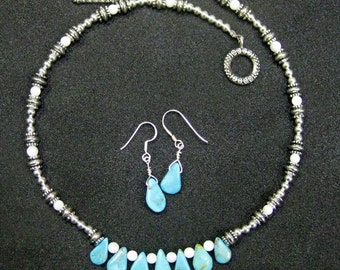 Turquoise and Mother of Pearl Necklace with Earrings