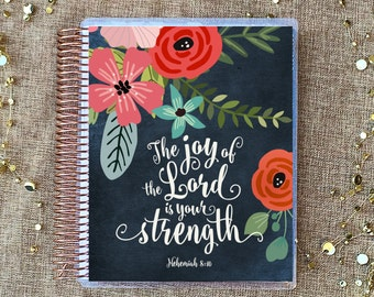 "Planner Cover Set: ""Joy Of The Lord"" 10 Mil Laminated for use with ERIN CONDREN LIFEPLANNER™"