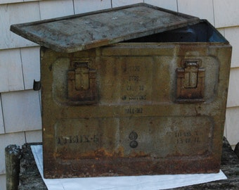 Ammo Box: Vintage Military Ammunition Box, Metal, Large Size for 30 Cal Ball-M2, Storage, Antique
