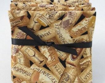 cloth beverage napkins, wine corks, set of 4 - or - set of 6, appetizer napkins, hostess gift, housewarming gift, wedding shower gift