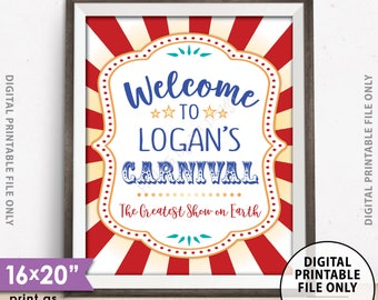 """Carnival Welcome Sign, Welcome to the Carnival Theme Party Sign, Carnival Games, Circus Theme Party, PRINTABLE 8x10/16x20"""" Carnival Sign"""