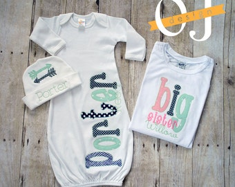 Big Sister Little Brother Personalized Baby Boy Newborn Gift Set- Name Boy Aqua Navy and Gray Infant Gown and Hat Big Sister Shirt Pink Mint