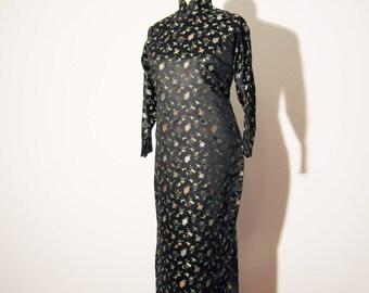 Vtg 60s CHEONGSAM Black BROCADE Dress! Small