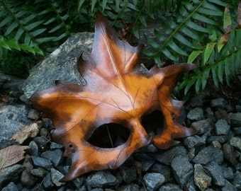Yellow  Leather Maple Leaf Mask