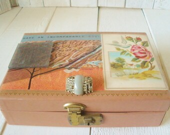 Vintage jewelry box pink embellished findings photos science illustration postcard jewelry/ free shipping US