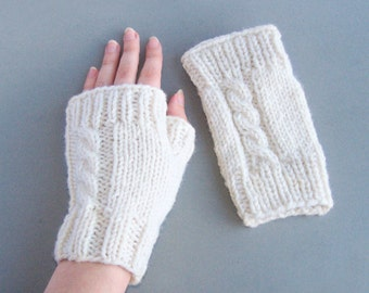 Ivory white fingerless mittens, unisex chunky wool hand warmers for him and her Medium size M and L