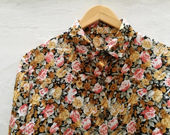 Vintage BLOUSE/Vintage shirt/vintage clothing/gift for woman/calamity vintage/flowers/1980s/vintage woman/floral print