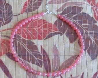 Cherry Quartz necklace with Sterling silver spacer