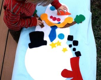 Felt Snowman - Build a Snowman - 3ft tall - Felt Story - Quiet Toys - Quiet Book - Felt Christmas Tree