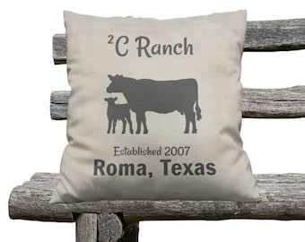 Custom Personalized  Farmhouse Chic Throw Pillow,Primitive Pillows, Cattle Ranch
