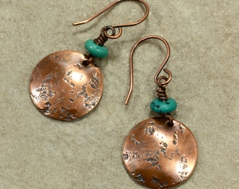 Turquoise and Hammered Copper Earrings, Turquoise Earrings, Southwestern Earrings, Rustic Earrings, Primitive Earrings, Hammered Earrings