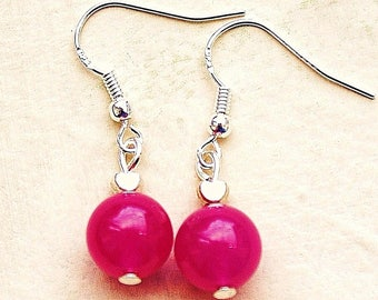 Pink Jade Gemstone Earrings with Sterling Silver Hooks Tiny Hearts LB57