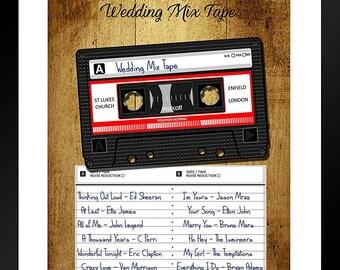 Wedding, Birthday, Anniversary Mix Tape Personalised Print