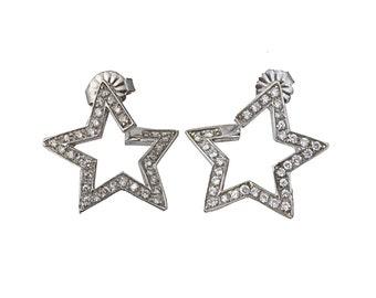 Platinum Diamond Star Pierced Post Earrings