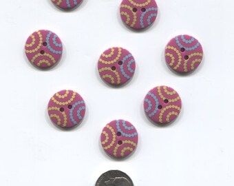 Set of 8 Dark Purple Plastic Buttons with dotted design-Item# 62