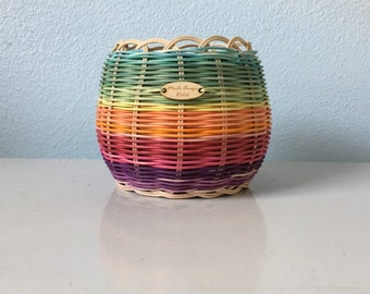 Hand Woven basket , hand dyed, Authentic Native American Art. Double wall basket