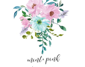 Watercolor Mint Pink Roses Flower Clipart One Arrangement Hand Painted Flowers Wedding Clip Art Commercial Use   A4 Mint & Pink