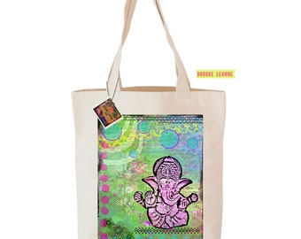 Ganesha Tote Bag  - Reusable Grocery Shopping Bag - Farmer's Market Bag - Cotton Eco Tote Bag - Book Bag - Free Shipping