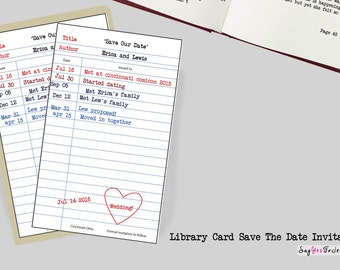 Check out Library Card Save The Date Invitation for Weddings or Parties, Wedding, Save The Date, Save Our Date, Library Card, Check Out Card