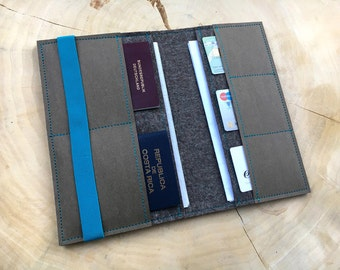 Travel organizer from felt and vegan leather for passport