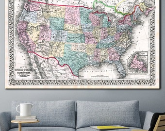 Old Map USA, Map wall art, Vintage map, Old map, Vintage map  poster, Antique Map United States, Vintage home decor, Vintage usa map