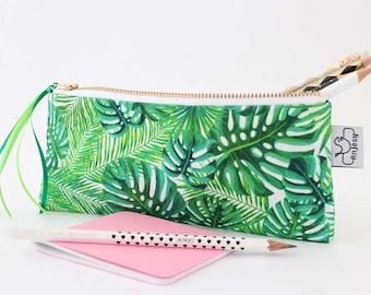 Tropical pencil case, zipper pouch ,green pencil pouch, by ANJESYdesign