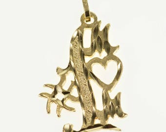 14k #1 Number One Mom Mother Word Pendant Gold