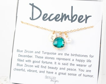 December Blue Zircon Birthstone Gold Necklace, Blue Zircon Gold Necklace, December Birthstone Jewelry, Personalized Gold Necklace #877